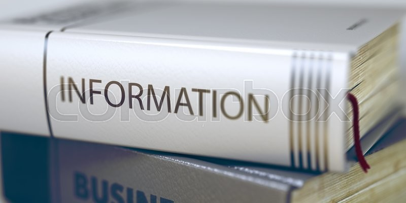 Information. Book Title on the Spine. Information Concept. Book Title. Stack of Books with Title - Information. Closeup View. Toned Image with Selective focus. 3D Rendering, stock photo