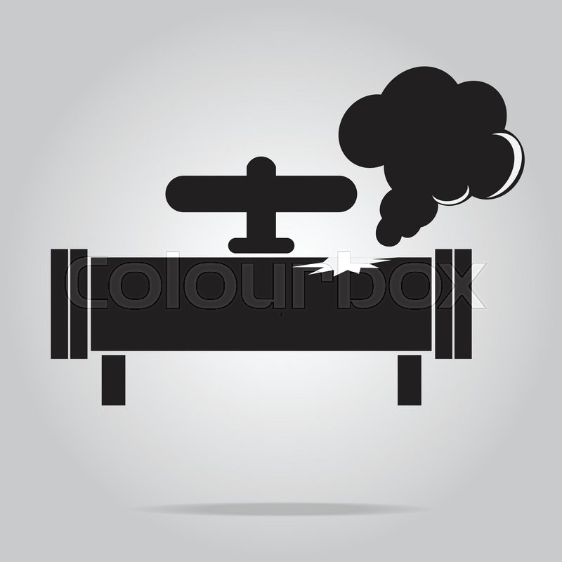 Gas Leak Pipe Icon Pollution Gas Pipe Icon Sign Vector