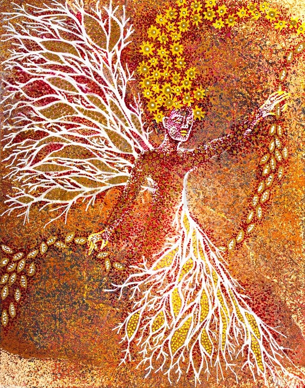 Stock image of 'Autumn. Graphic art showing abstract woman with blossoms and seeds'