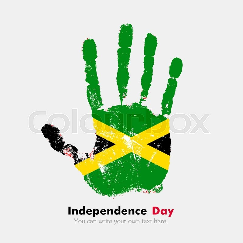 Hand Print Which Bears The Flag Of Jamaica Independence Day - Jamaica independence day