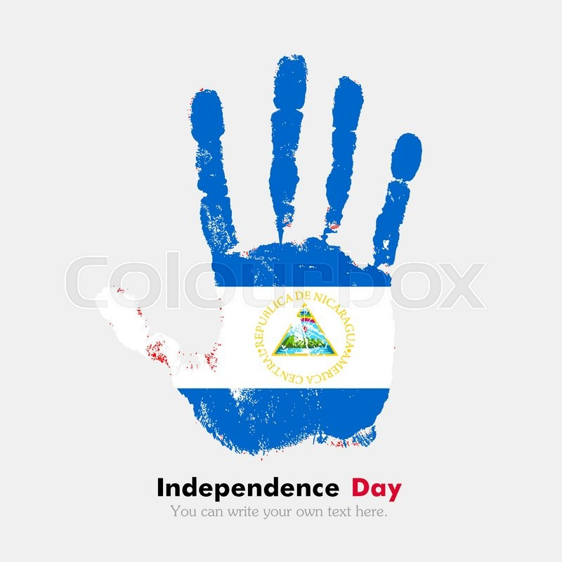 hand print which bears the flag of nicaragua independence day