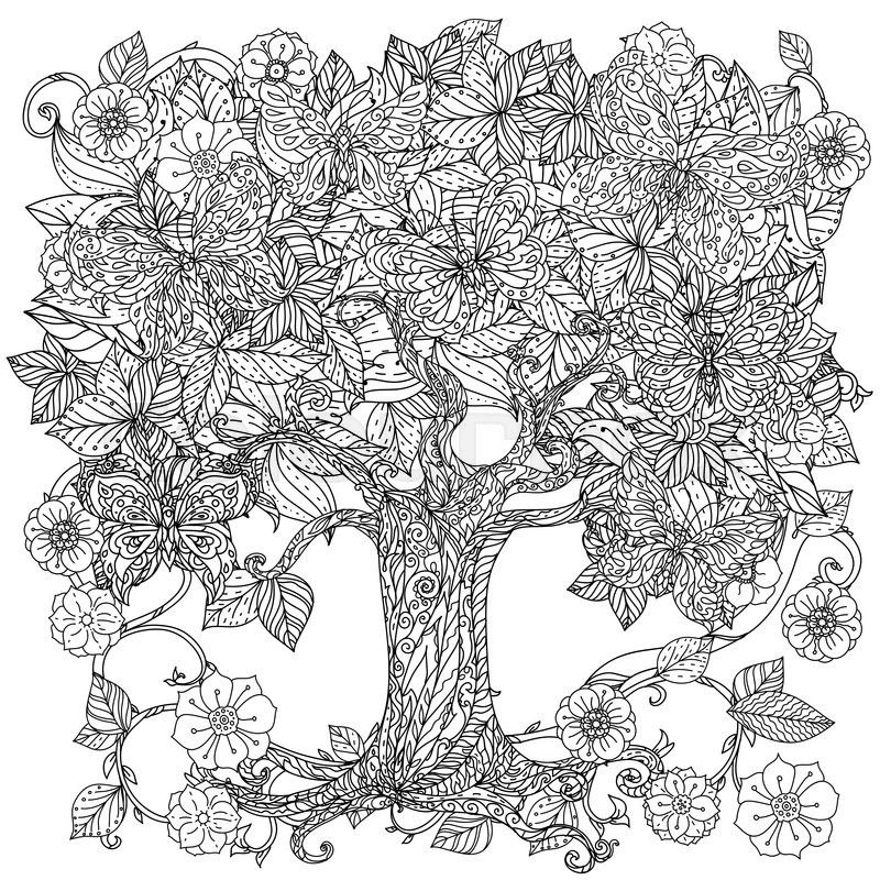 Uncoloured Tree And Butterfly For Adult Coloring Book In Famous Zenart Art Therapy Antistress Style Hand Drawn Retro Doodle Vector Mandala