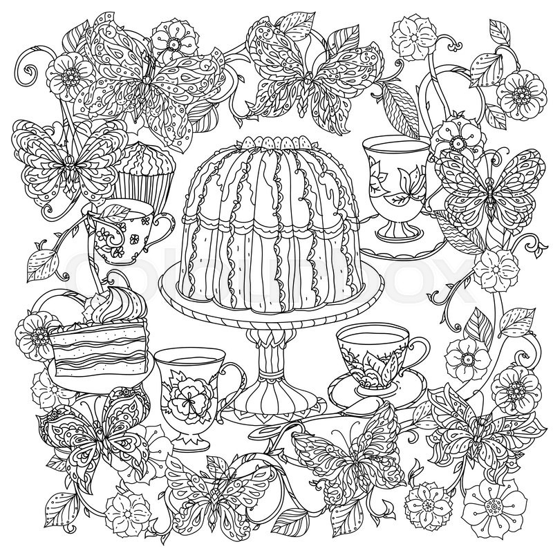 Uncoloured Sweets And Butterfly For Adult Coloring Book In Famous Zenart Art Therapy Antistress Style Hand Drawn Retro Doodle Vector Mandala