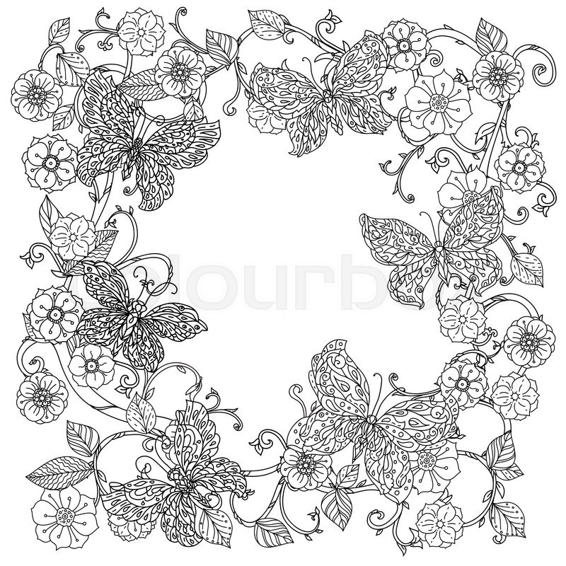Uncoloured Flowers And Butterfly For Adult Coloring Book In Famous Zenart Art Therapy Antistress Style Hand Drawn Retro Doodle Vector Mandala