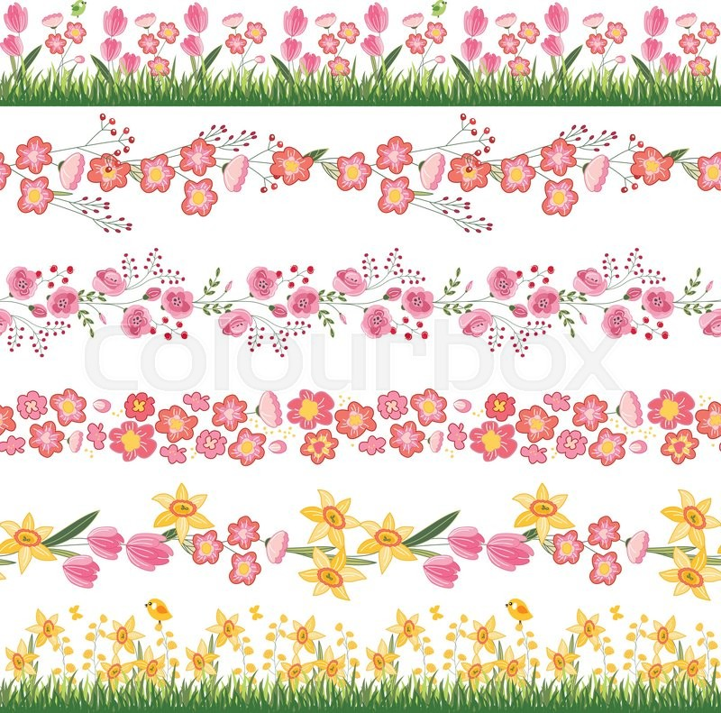 Festive spring seamless pattern brushes endless horizontal borders festive spring seamless pattern brushes endless horizontal borders with flowers on green grassr your design greeting cards wrappings fabrics m4hsunfo