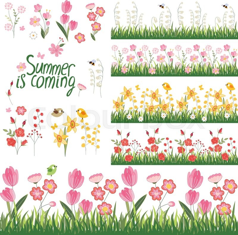 Festive spring and summer seamless pattern brushes endless festive spring and summer seamless pattern brushes endless horizontal borders with flowers on green grass for your design greeting cards wrappings m4hsunfo