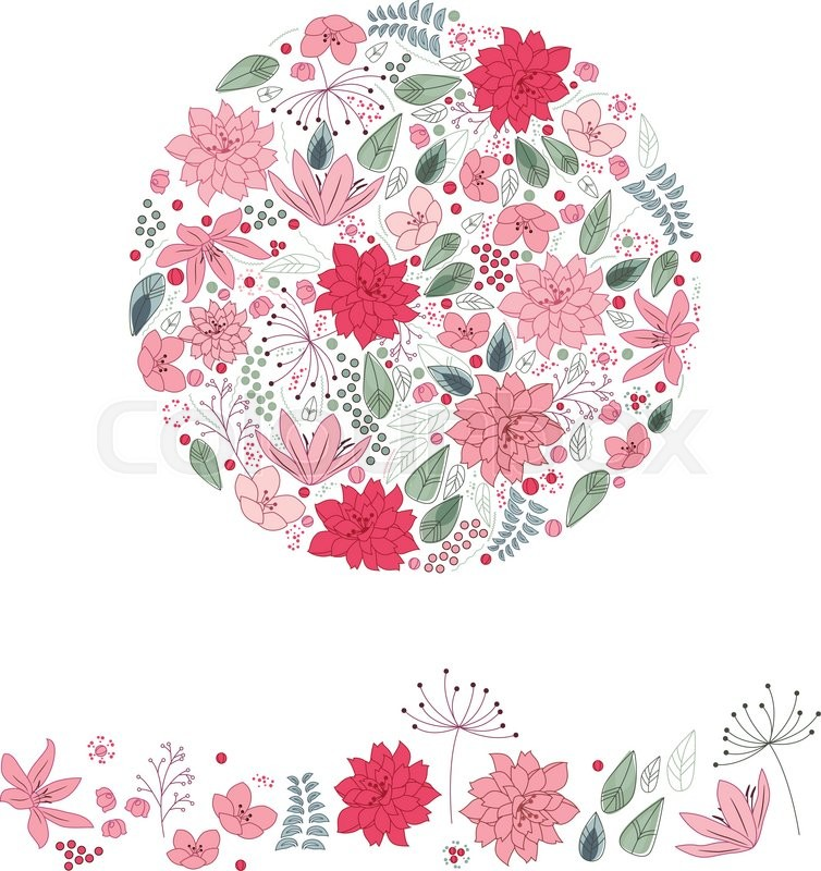 stock vector of stylized round template with cute pink and red flowers floral spring