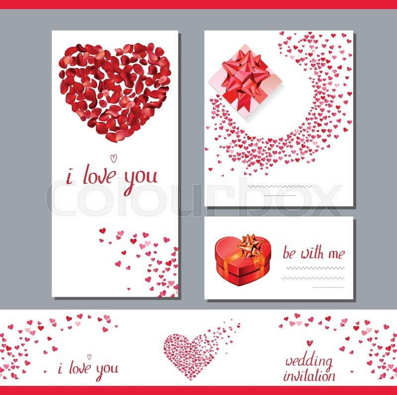 Templates With Heart Made Of Red Rose Petals Phrase I Love You