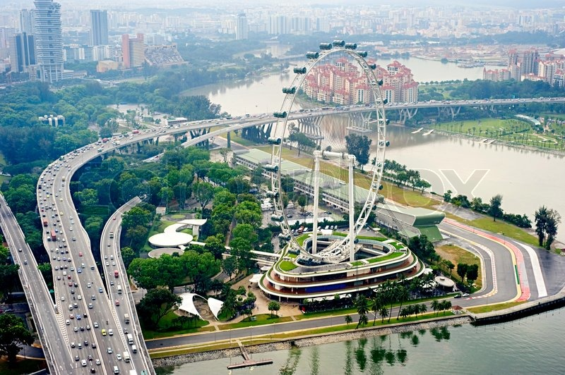 Aerial view on Singapore Flyer from Marina Bay Sands ...