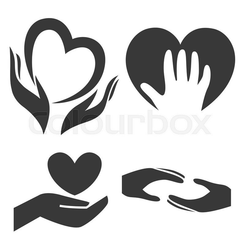 heart in hand symbol sign icon logo template for