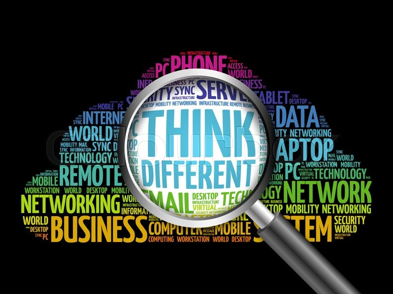 Think Different word cloud with magnifying glass, business concept, stock photo