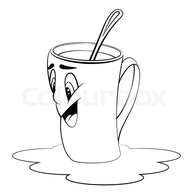 Cartoon cup with coffee. Mug with surprised facial expression ...