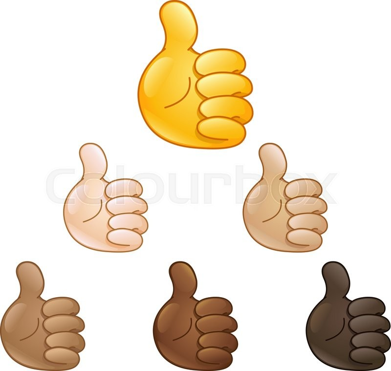 Thumbs Up Hand Emoji Set Of Various Skin Tones Stock Vector