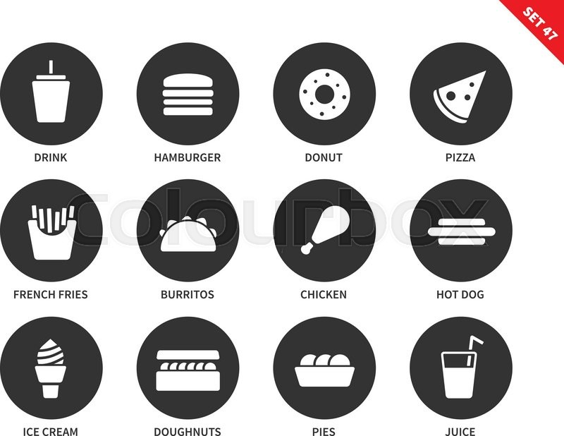 Fast Food Vector Icons Set Eating And Stock Vector Colourbox