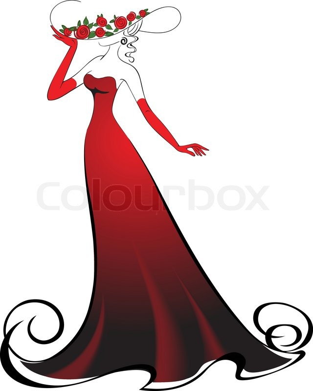 Woman in gloves and an elegant long red dress | Stock ...
