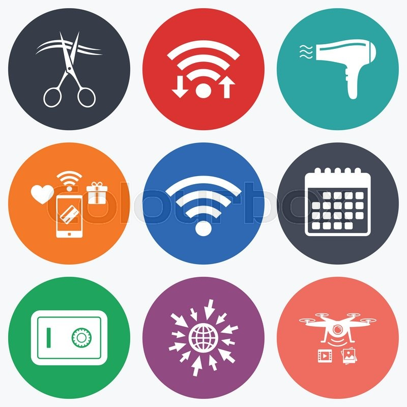 Wifi Mobile Payments And Drones Icons Hotel Services Icons Wi Fi