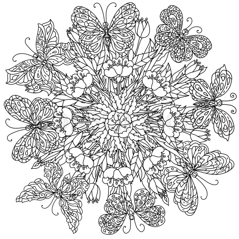 Mandala Shape Flowers And Butterfly For Adult Coloring Book In Zen