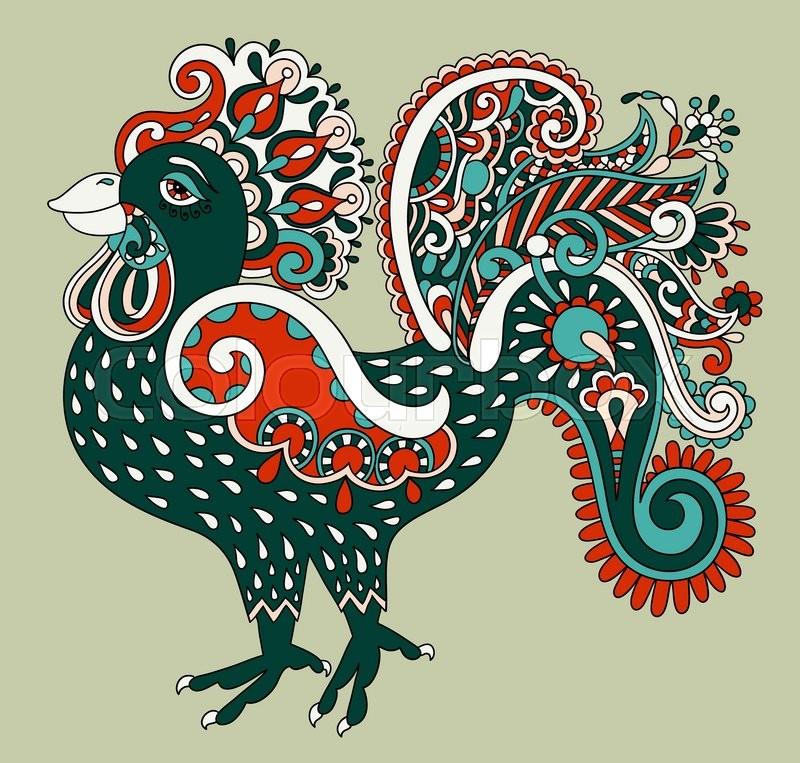 Original retro cartoon chicken drawing, symbol of 2017 new year of the ...