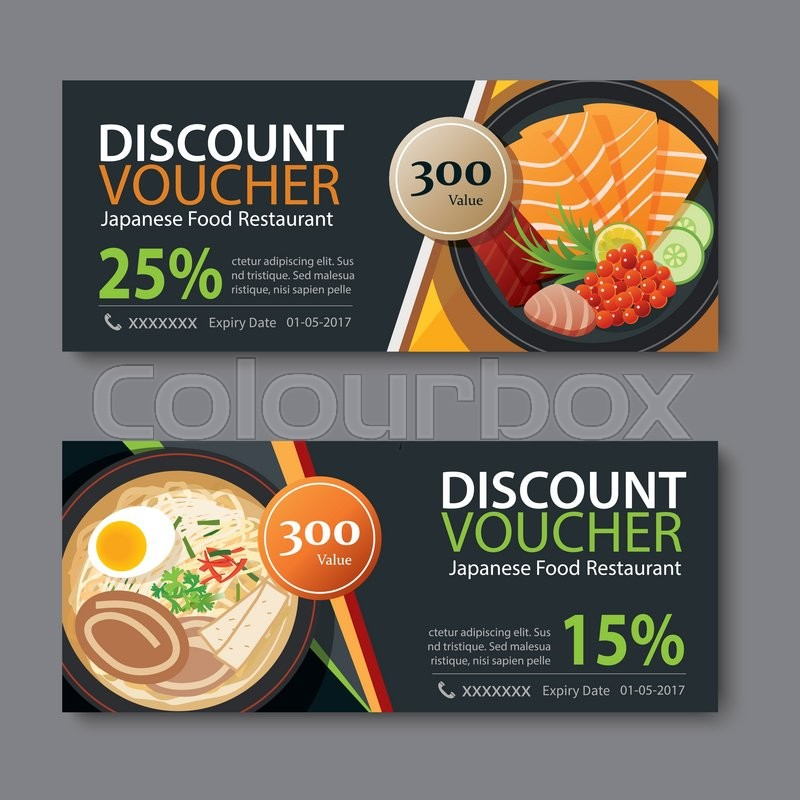 Exceptional Discount Voucher Template With Japanese Food Flat Design | Stock Vector |  Colourbox