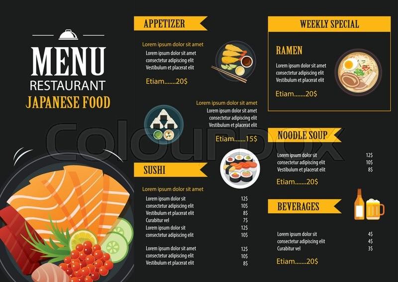 japanese food menu restaurant brochure design template stock