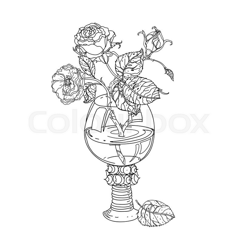 Still Life Roses In Vintage Glass Old Masters Style Bouquet For Adult Coloring Book Zen Art Therapy Anti Stress Drawing