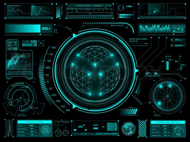 Sci Fi Control Panel : Set of futuristic user interface elements for dashboard or