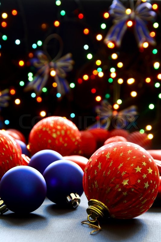Beautiful Christmas Balls On The Background Lights Christmas Tree Garland.  | Stock Photo | Colourbox