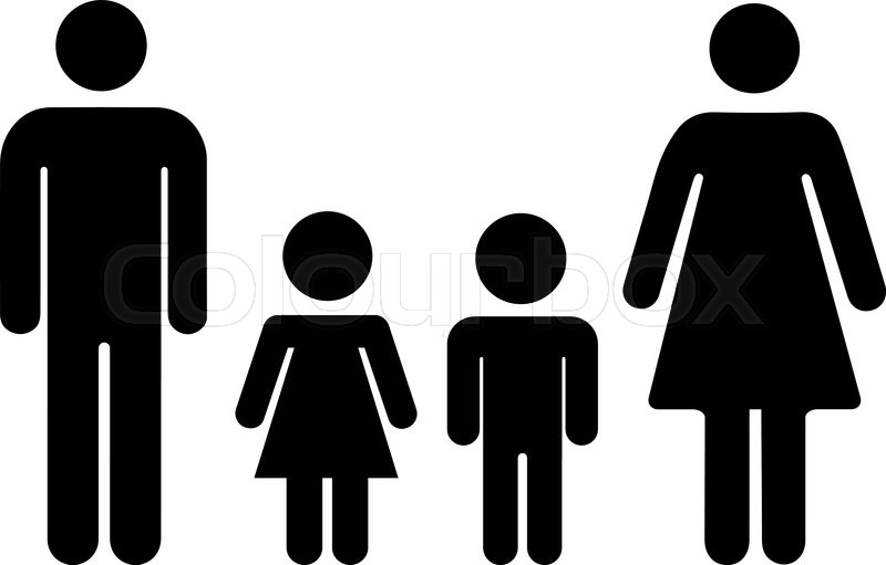 Man And Woman With Boy And Girl Symbols Family Icon Isolated On