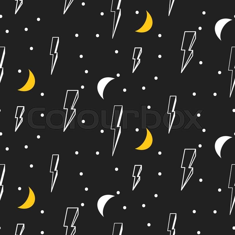 Black And White Hipster Pop Art Vector Dark Background Lightning Moon