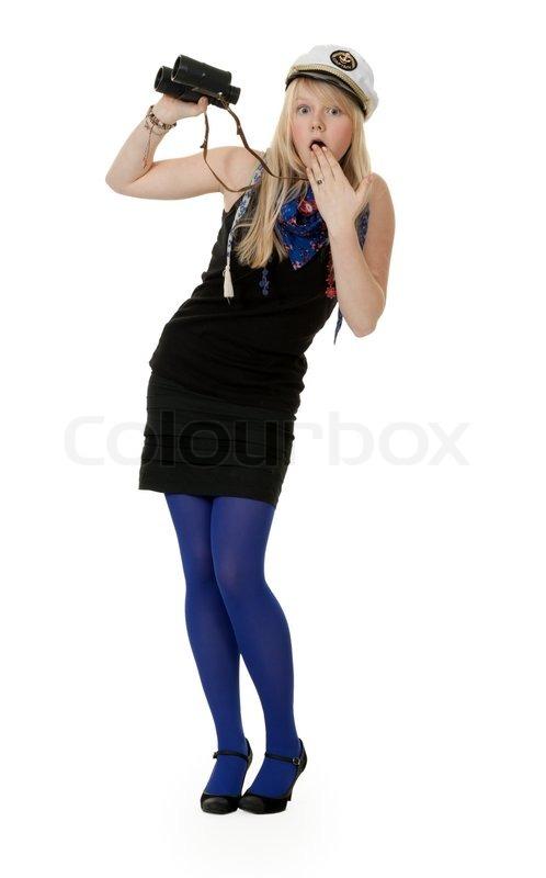 m dchen in blauen strumpfhosen mit dem fernglas auf wei em. Black Bedroom Furniture Sets. Home Design Ideas