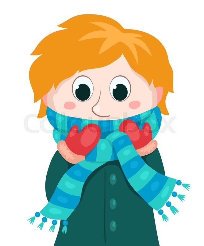 little boy in winter clothes vector stock vector