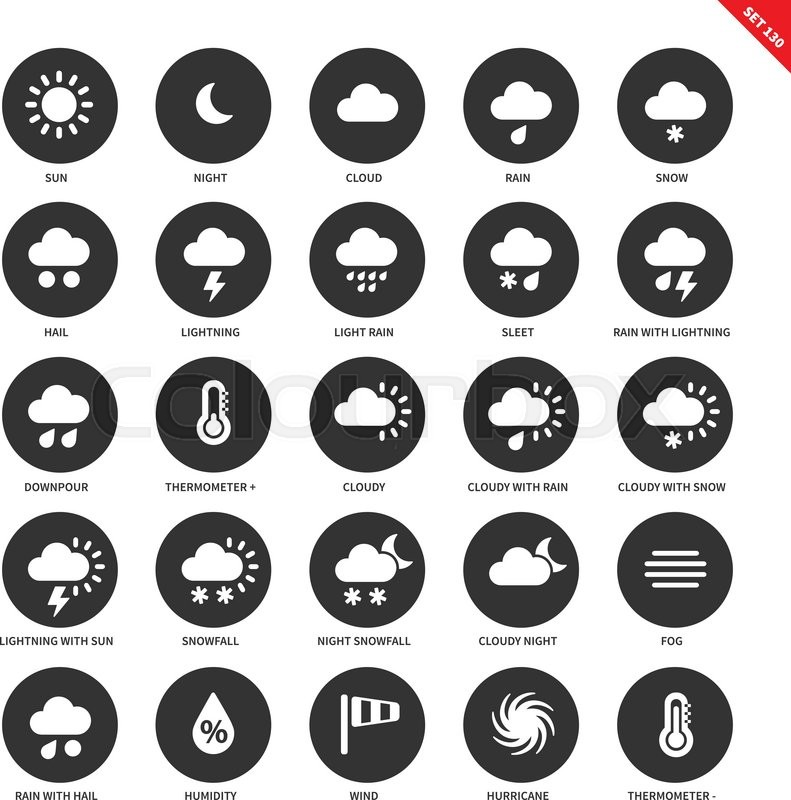 Weather Forecasting Vector Icons Set Natural Phenomenon Concept