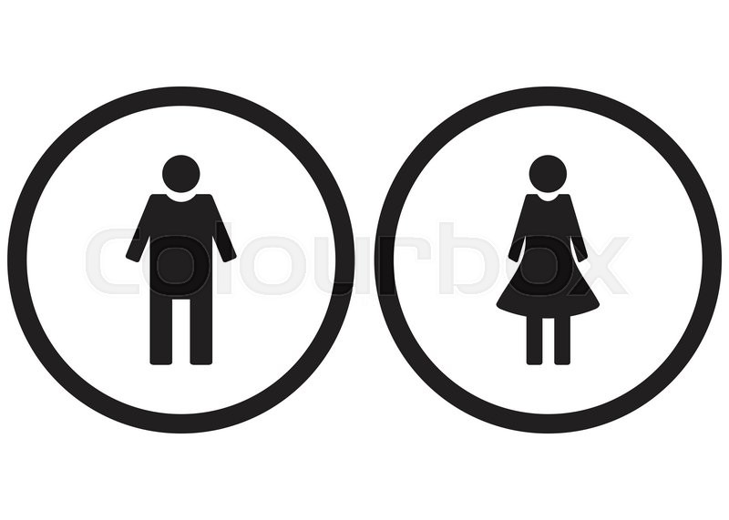 Icon Set Gender Male And Female Restroom Symbol Toilet Lady And