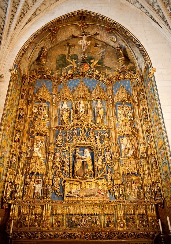 Golden Altar In The Cathedral In Burgos Spain Stock