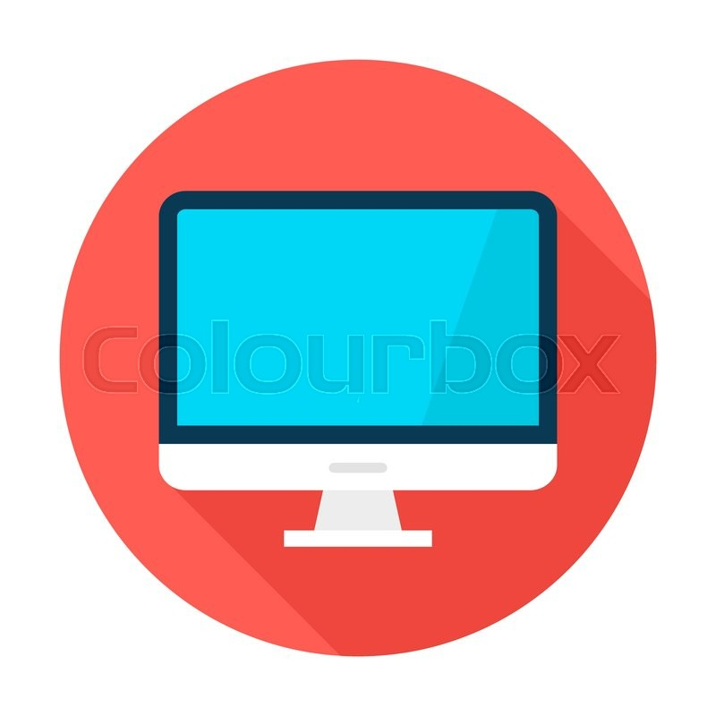 computer display circle icon vector illustration flat style round rh colourbox com computer icon vector free download computer icon vector free