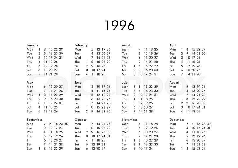 Vintage calendar of year 1996 with all months Stock