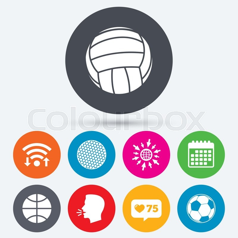 Wifi, like counter and calendar icons. Sport balls icons. Volleyball, Basketball, Soccer and Golf signs. Team sport games. Human talk, go to web, vector