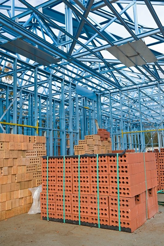 New home under construction using steel frames, stock photo