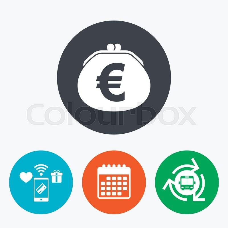 Wallet Euro Sign Icon Cash Bag Symbol Mobile Payments Calendar