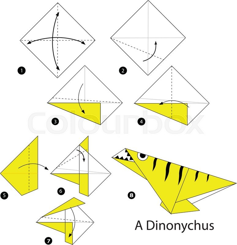 Step By Step Instructions How To Make Origami A Dinosaur Stock