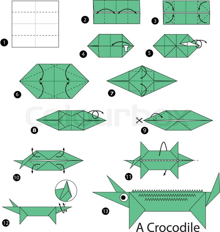 Step By Instructions How To Make Origami A Crocodile