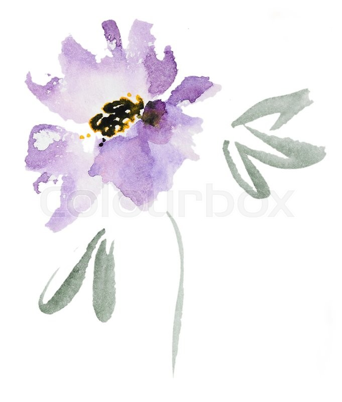 Abstract Watercolor Flower. Beautiful ...