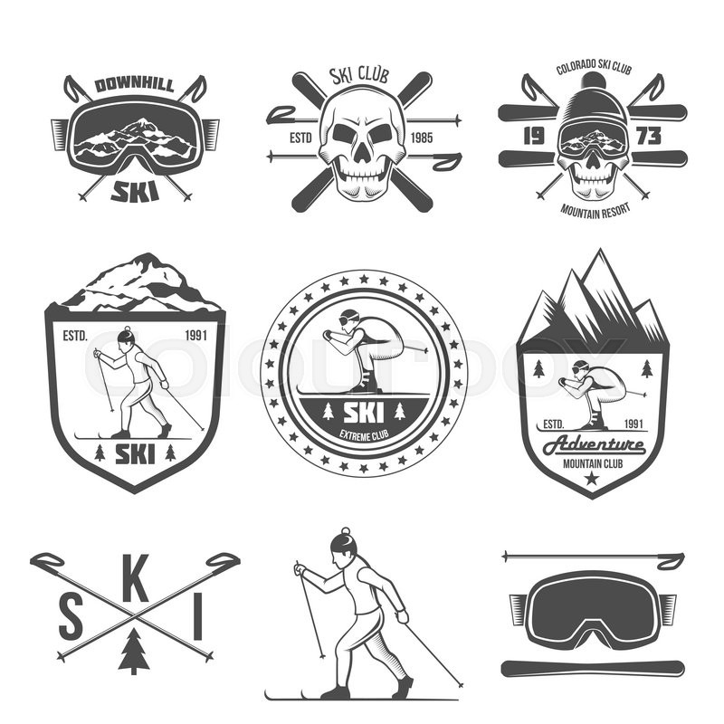 vintage ski and arctic expeditions logos badges emblems