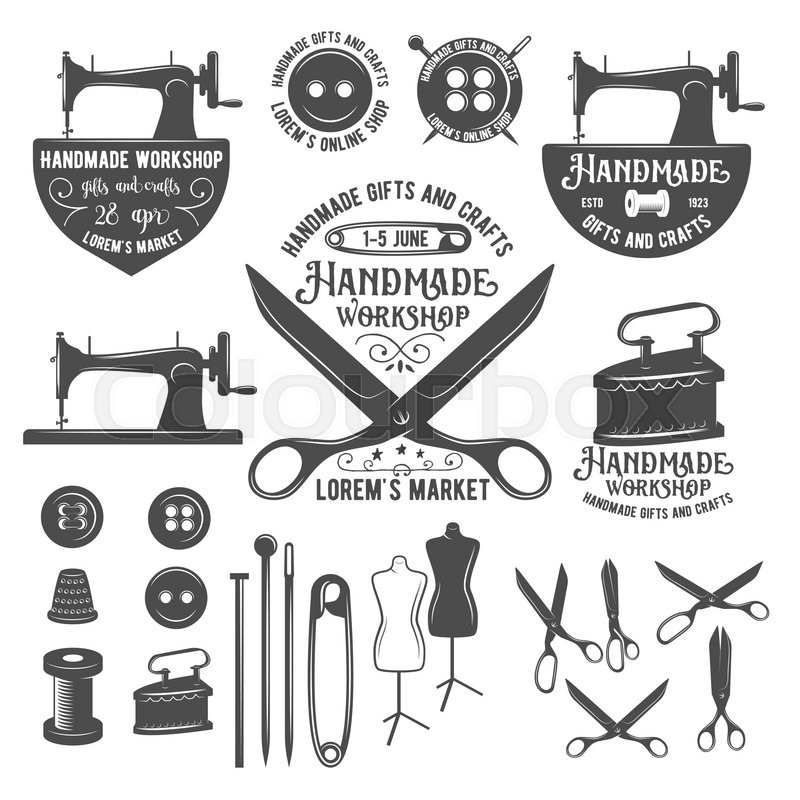 Set Of Tailor Labels Badges Design Elements And Emblems Tailor Shop Design Elements Vector