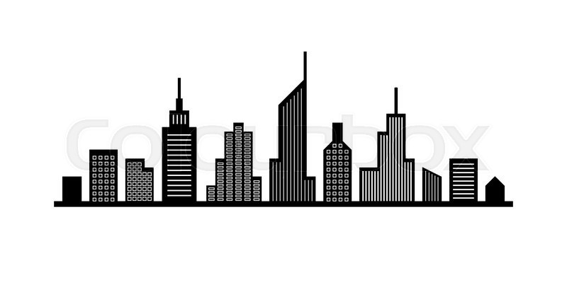 abstract black and white urban line cityscape design stock vector rh colourbox com cityscape vector drawings cityscape vector background