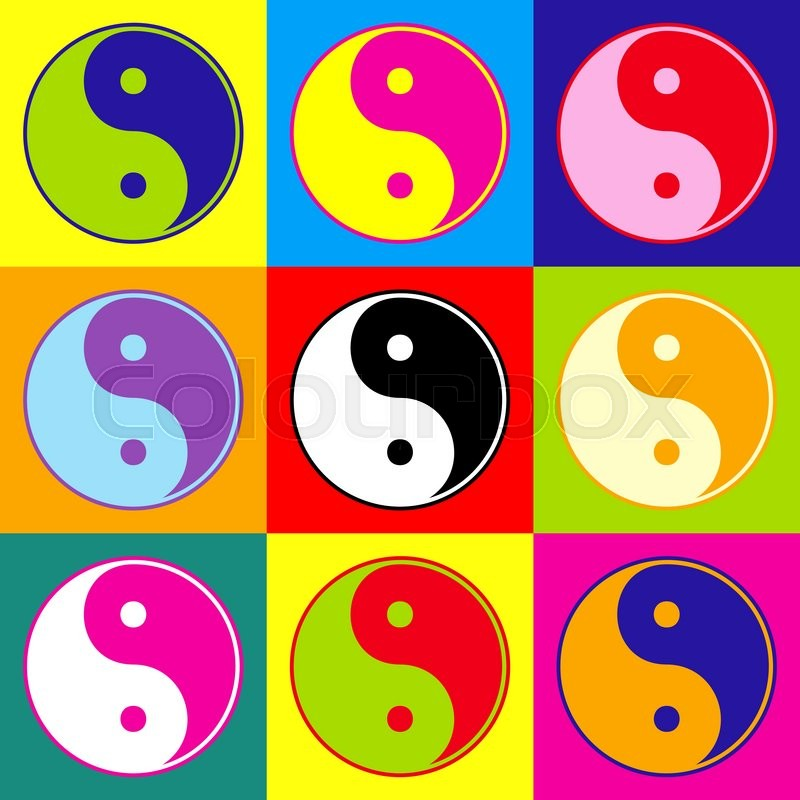 Ying Yang Symbol Of Harmony And Balance Pop Art Style Colorful