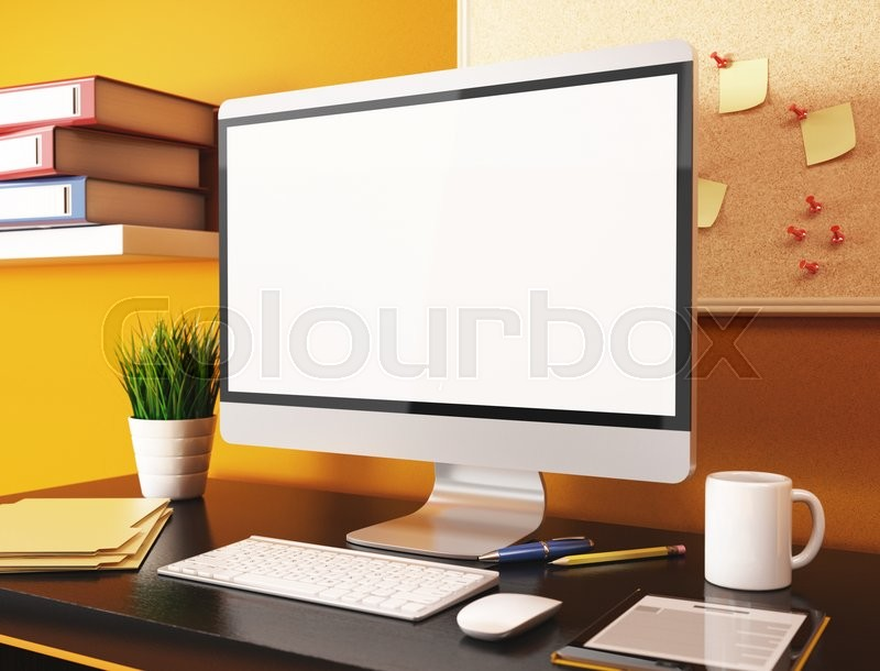 3D illustration office with blank computer screen. Mockup | Stock ...