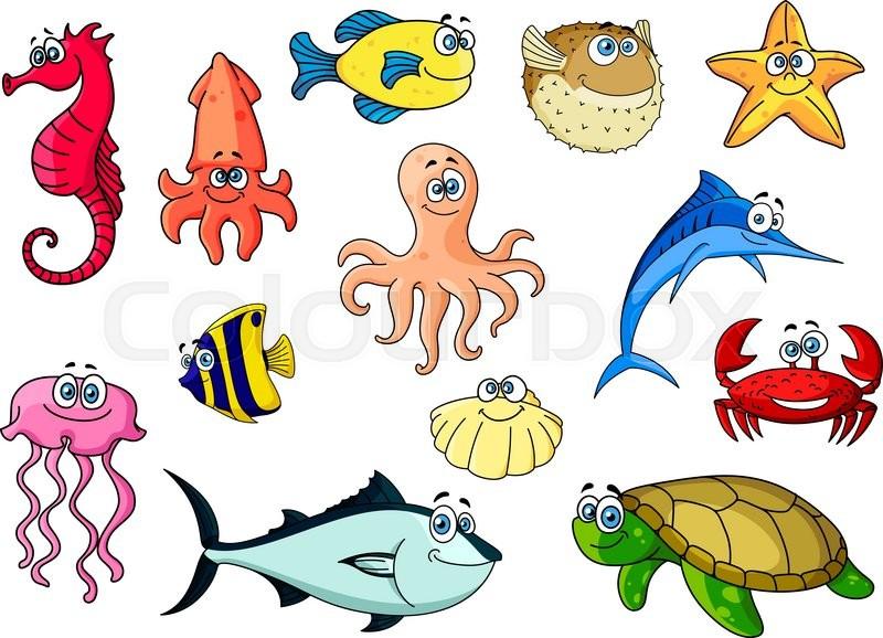 Cartoon Colorful Tropical Fishes, Sea ...