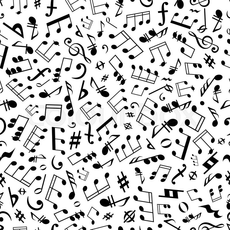 black and white seamless musical symbols and marks