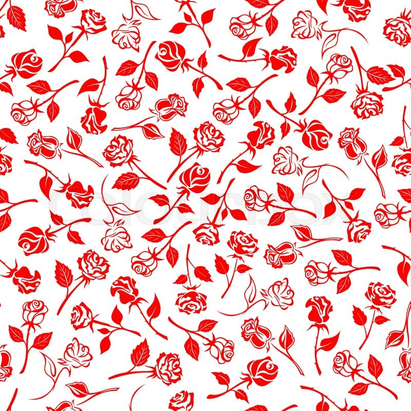Seamless Bright Red Roses Pattern Over White Background With Beautiful Blooming Flowers And Buds On Thorny Stems Carved Leaves